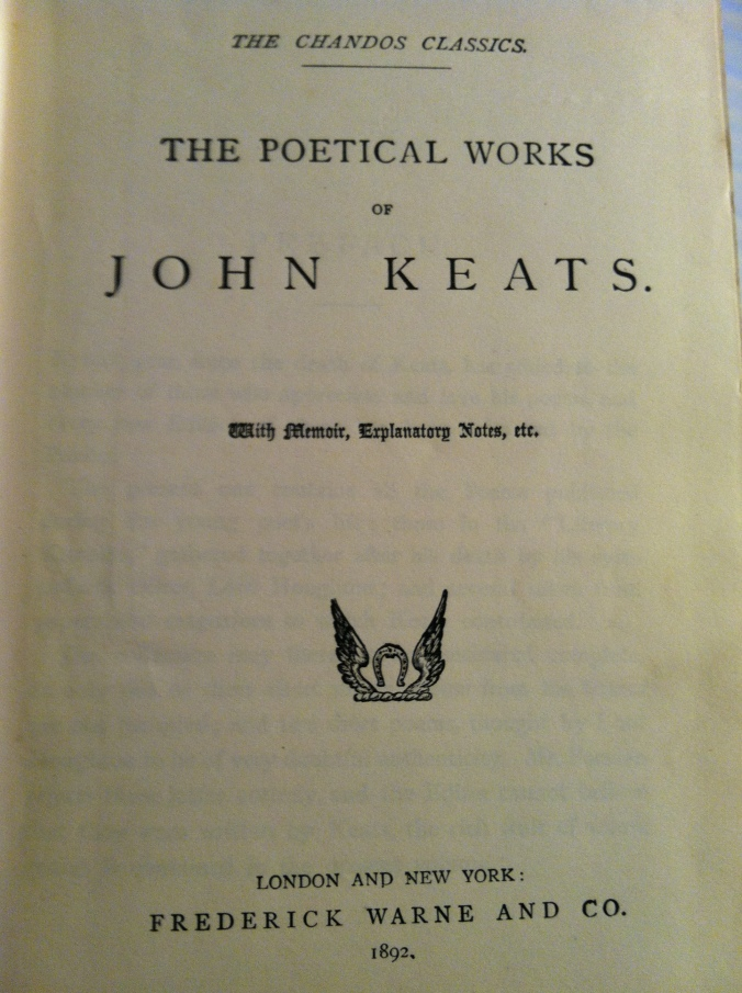 1892 edition of Keats's works